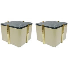 1970s Italian Pair of Cream White Lacquered & Green Marble Side Tables or Stools