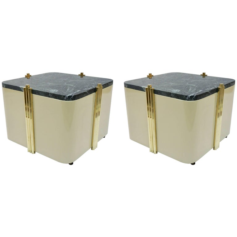 1970s Italian Pair Of Cream White Lacquered And Green Marble Side Tables Or Stools For Sale At