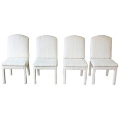 Four Milo Baughman Style Parsons Dining Chairs, Design Institute of America