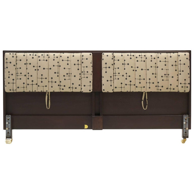 King Headboard by Edward Wormley for Dunbar Padded with Fold Down Arms