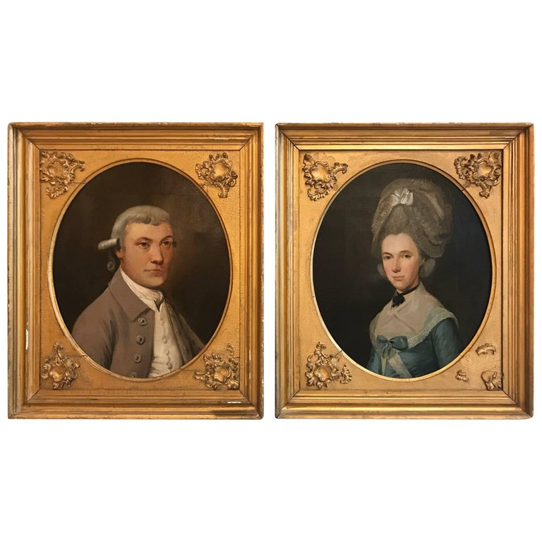 Pair of English 18th Century Oil on Canvas Portraits of an Aristocratic Couple