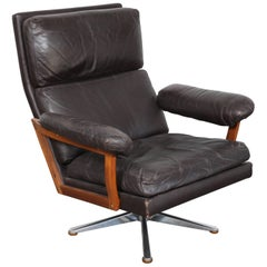 Danish Mid-Century Brown Leather Swivel Lounge Chair