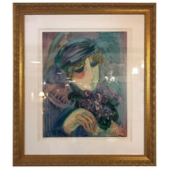 Finely Framed and Matted Lithograph by Barbara Wood Woman with Hat and Flowers
