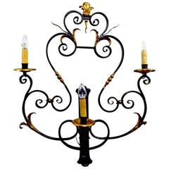 Large Paladio Wrought Iron and Gilt Italian or Spanish Style Sconce