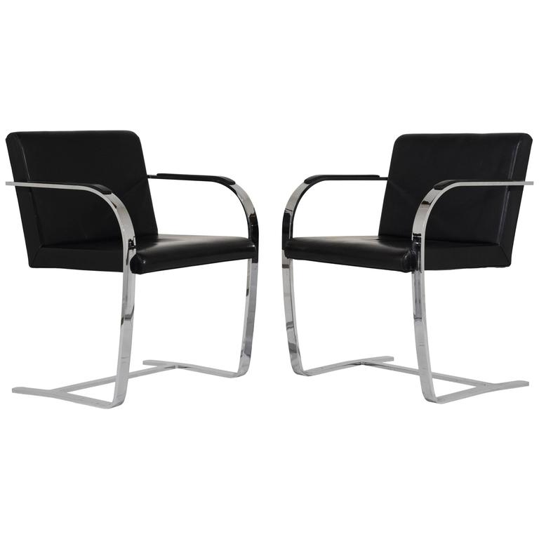 Pair of Mid-Century Modern Mies Van Der Rohe Flat Bar Brno Chairs For Sale