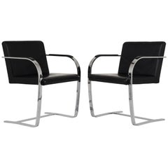Pair of Mid-Century Modern Mies Van Der Rohe Flat Bar Brno Chairs