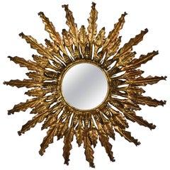 Baroque Gilt Brass Sunburst Wall Mirror