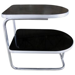 Art Deco Machine Age Streamline Modern Chrome Black Tiered End Table Duro Chrome