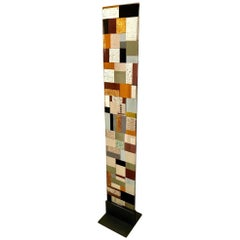 Contemporary Italian Murano Glass Silver Gold Colorful Mosaic Panel Sculpture