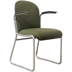 1935 W.H. Gispen for Gispen, Rare Framed 413R Side Chair, Original Green Fabric
