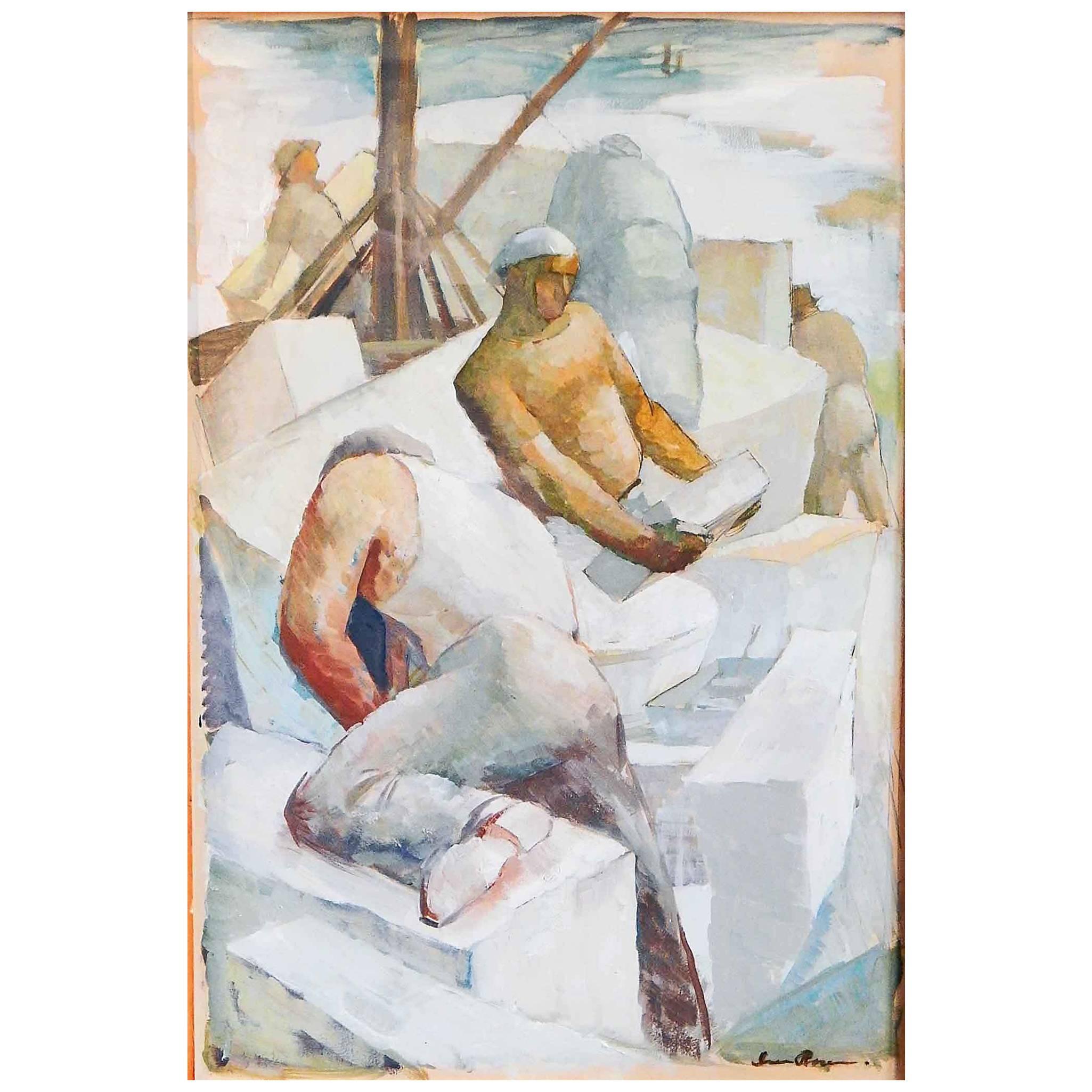 """Quarry Men,"" Striking Art Deco-WPA Depiction of 1930s Laborers, Rockport"