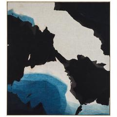 Indigo Dyed Linen Topography Panel by Mineral Workshop