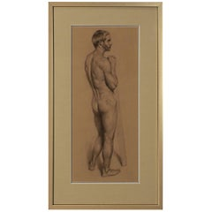 Vintage Academic Study of a Standing Male Nude  Signed Hull 77