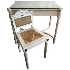 On Sale Now!  SALE! Maison Jansen Style Vanity or Desk Glass Top and Gilt Chair