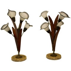 Pair of Mid-Century Teak Wood Table Lamps with Glass Shades