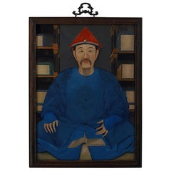 Reverse Glass Painting of Kangxi, circa 1930, China