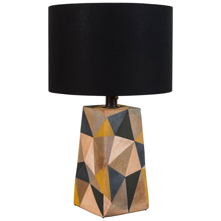 Hand-Painted Triangle Lamp by Mizrahi-Hellman Ceramics For Sale