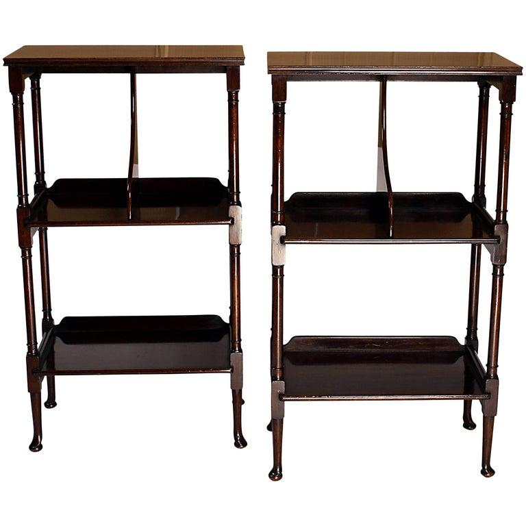 Elegant Pair of English Mahogany Standing Shelves, circa 1870