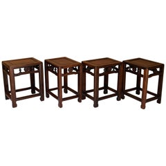 Four Chinese Hong Mu Stools in Ming Style, circa 1920