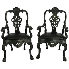 Portuguese Baroque Revival Bottle Green Painted Armchairs, circa 1900