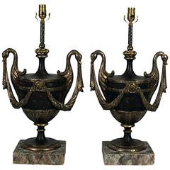 Hollywood Regency Italian Painted and Silver Gilt Urn Lamps, Italy, circa 1950