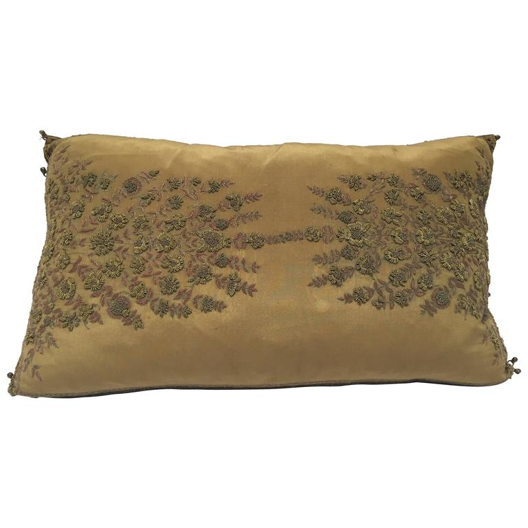 Silk Throw Pillow Embroidered with Raised Metallic Embroidery For Sale