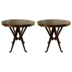 Pair of Cassina 1950s Italian Wood and Glass Circular Side or End Tables
