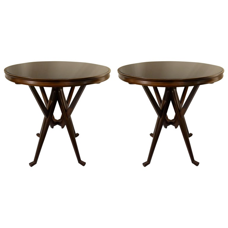 Pair of Cassina 1950s Italian Wood And Glass Circular Side or End Tables  For Sale