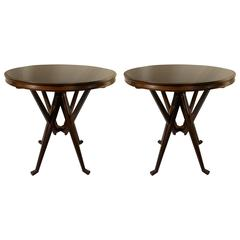 Pair of Mid-Century Dark Brown Circular Side or End Tables by Cassina
