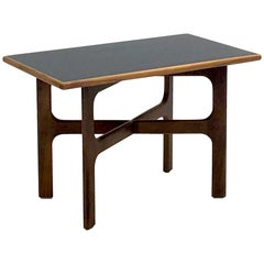 Walnut and Black Lacquer Occasional Table