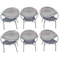 Set of Six Maurizio Tempestini for Salterini Hoop Lounge Patio Chairs