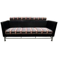 "Ettore Sottsass ""East Side"" Three-Seat Sofa for Knoll in Leather Knoll Mod Plaid"