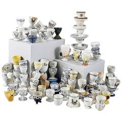 Large Collection of Egg Cups in Porcelain, Total of 88 Pcs, Different Designs