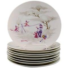 Rosenthal Studioline, Bjørn Wiinblad Nine Plates in Porcelain, Line Dancers