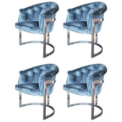 Set of Four Blue Velvet Milo Baughman Chairs