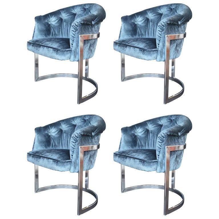 set of four blue velvet milo baughman chairs for sale at 1stdibs. Black Bedroom Furniture Sets. Home Design Ideas