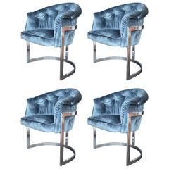 Set of Four Blue Velvet Milo Baughman Chairs