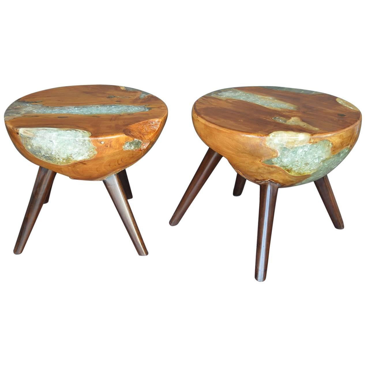 Pair of Wood and Resin Side Tables