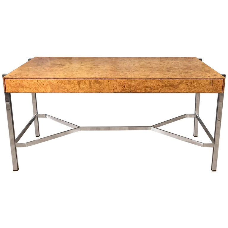 Notable Jack Freidin for Pace Burl Wood and Chrome Desk