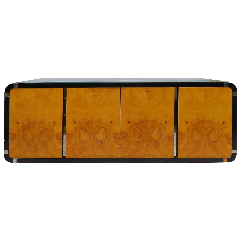 Burled Olive Wood Chrome Floating Credenza Mid-Century Modern