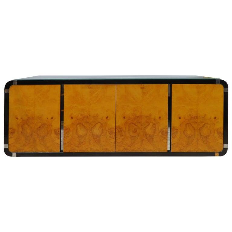 Milo Baughman Burled Olive Wood Chrome Floating Credenza Mid-Century Modern