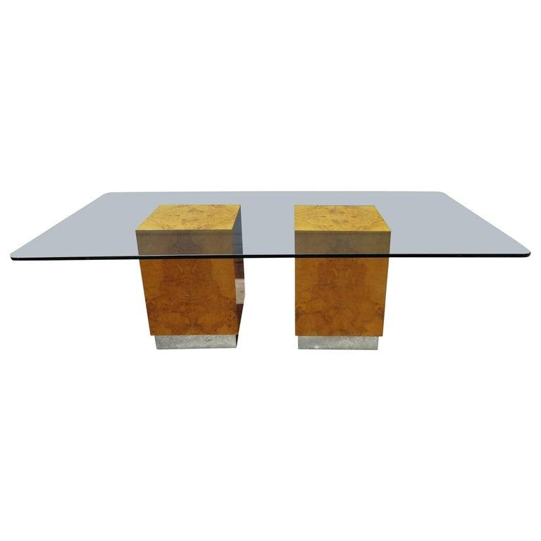 Magnificent milo baughman double pedestal olive wood cube - Cube table basse ...