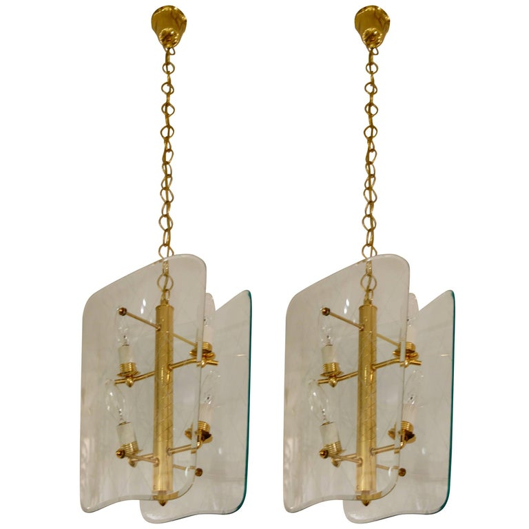 Pair of Vintage Glass and Brass Pietro Chiesa Style Lanterns or Chandeliers 1