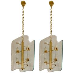 Pair of Vintage Glass and Brass Pietro Chiesa Style Lanterns or Chandeliers