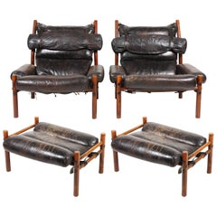 Pair of Pristine Lounge Chairs with Ottomans by Norell