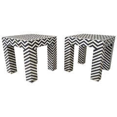 Geometric Patterned Black and White Bone Inlay Side Tables