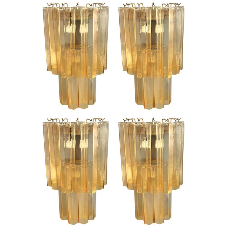 Set of Four Wall Lights Attributed to Venini