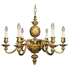 19th Century French Bronze Six-Light Antique Chandelier
