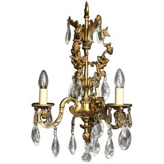 French Female Headed Gilded Triple Light Antique Chandelier