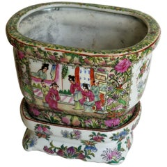 Chinese Export Planter or Jardinière with Base Stand Rose Medallion, circa 1900